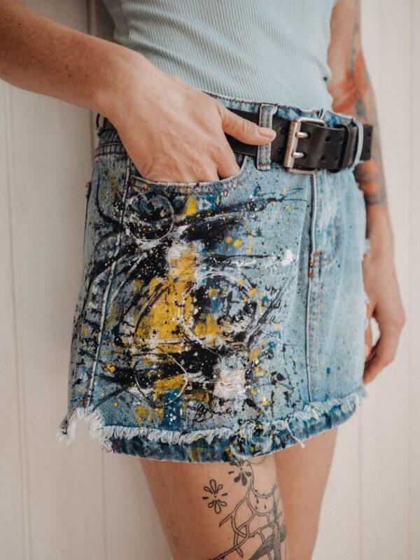 Džínová sukně s malbou
